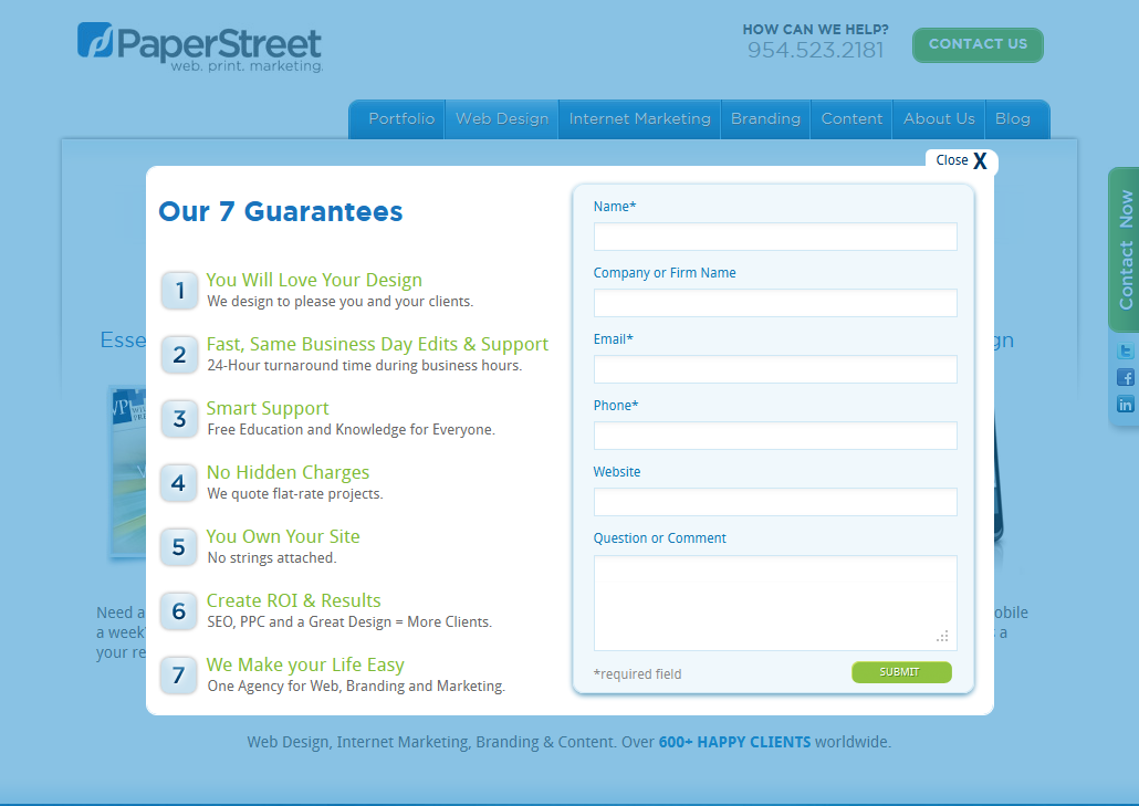 is a pop up contact form worth 240 000 yes paperstreet