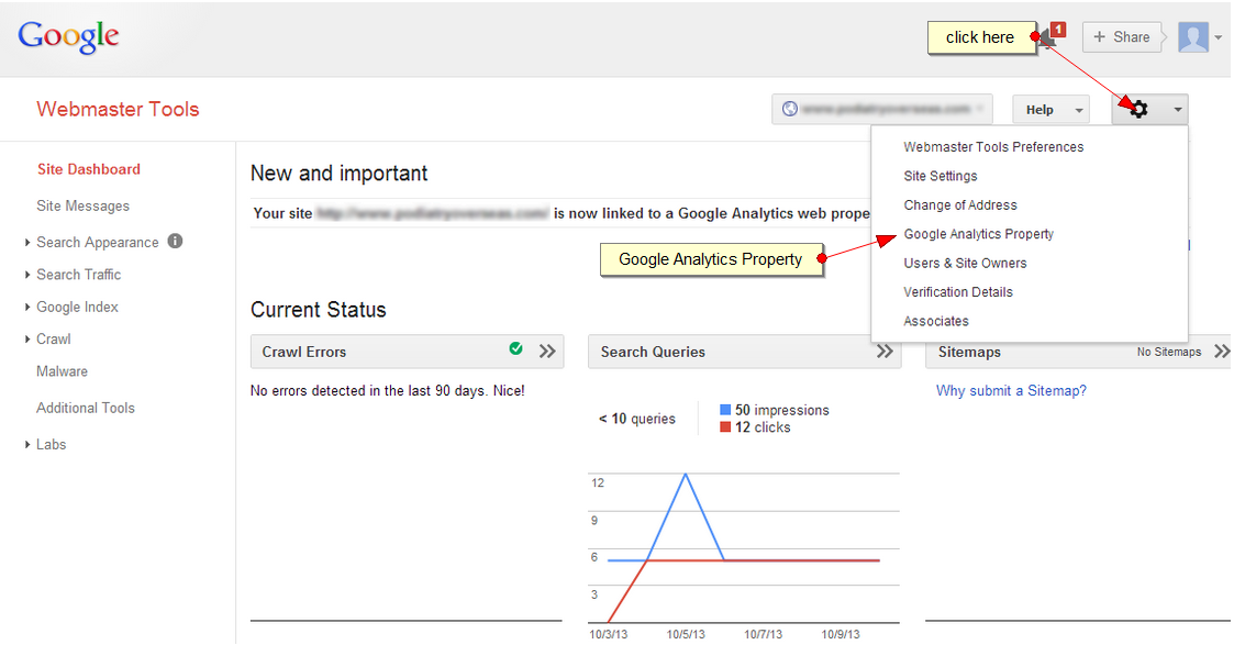Linking Webmaster Tools to Analytics