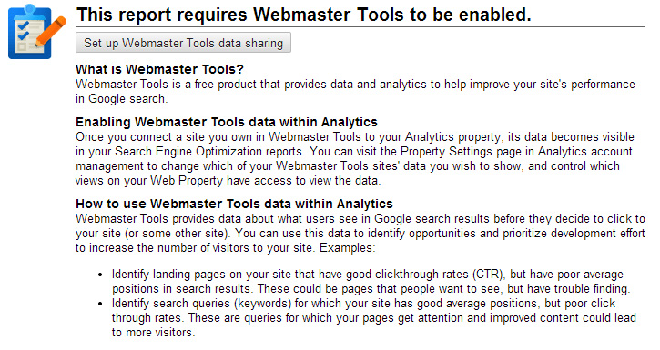 Need to connect webmaster tools and analytics