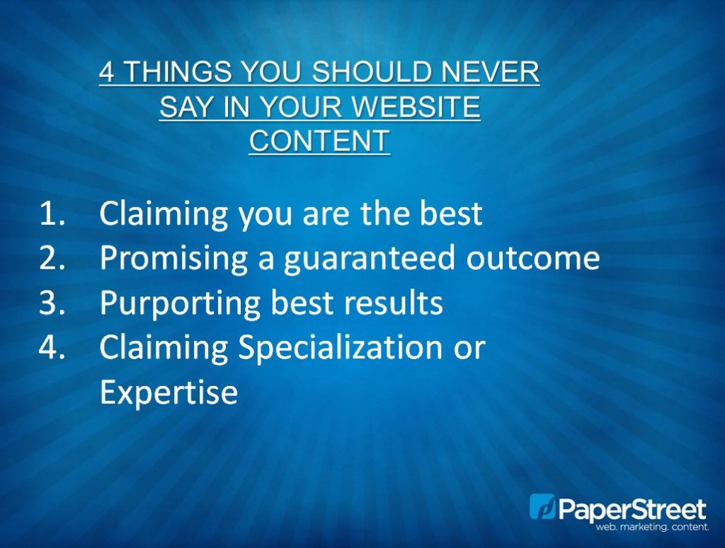 4 things you should never say in your website content