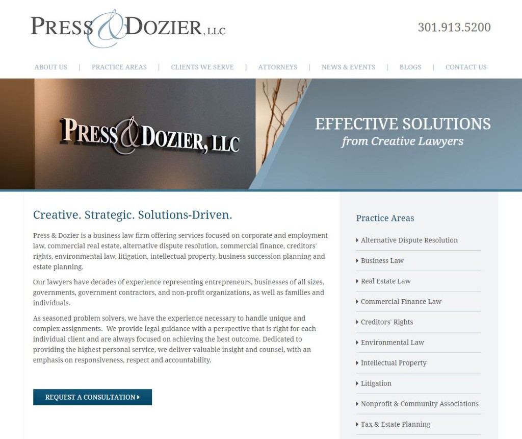 Need To Know Branding Reidel Law Firm: Press & Dozier Launches New Essentials Web Site