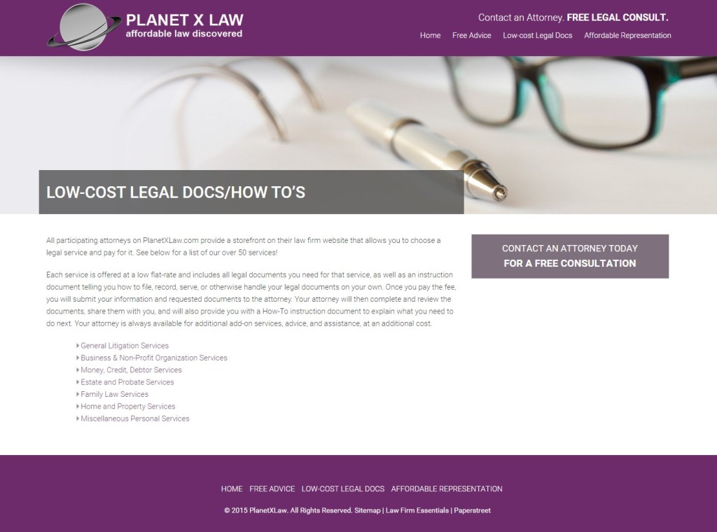 Planet X Law Launches New Essentials Legal Website PaperStreet - Free legal docs