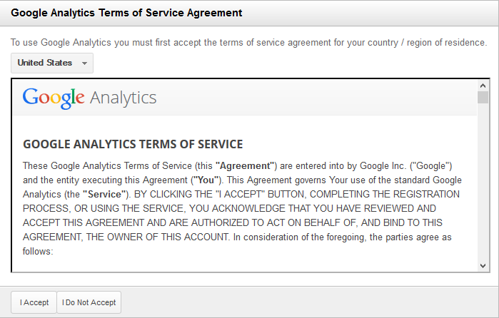 Google Terms of Service Agreeement