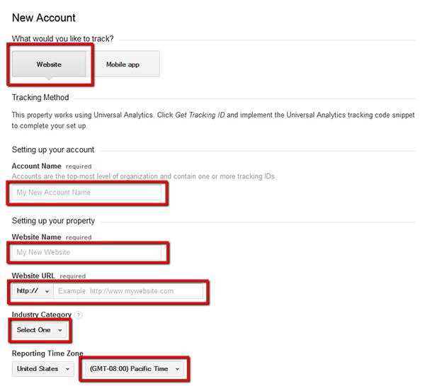 Новая учетная запись Google Analytics