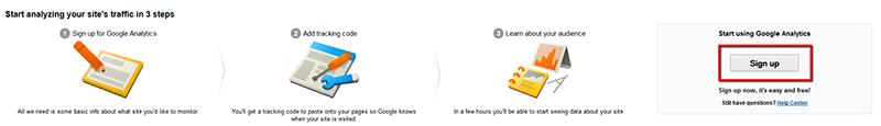 Зарегистрируйтесь в Google Analytics