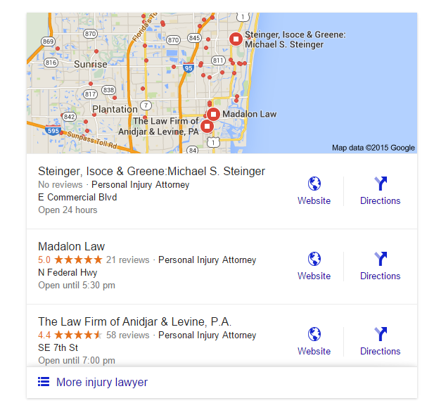 Ft. Lauderdale local lawyer Gogole search