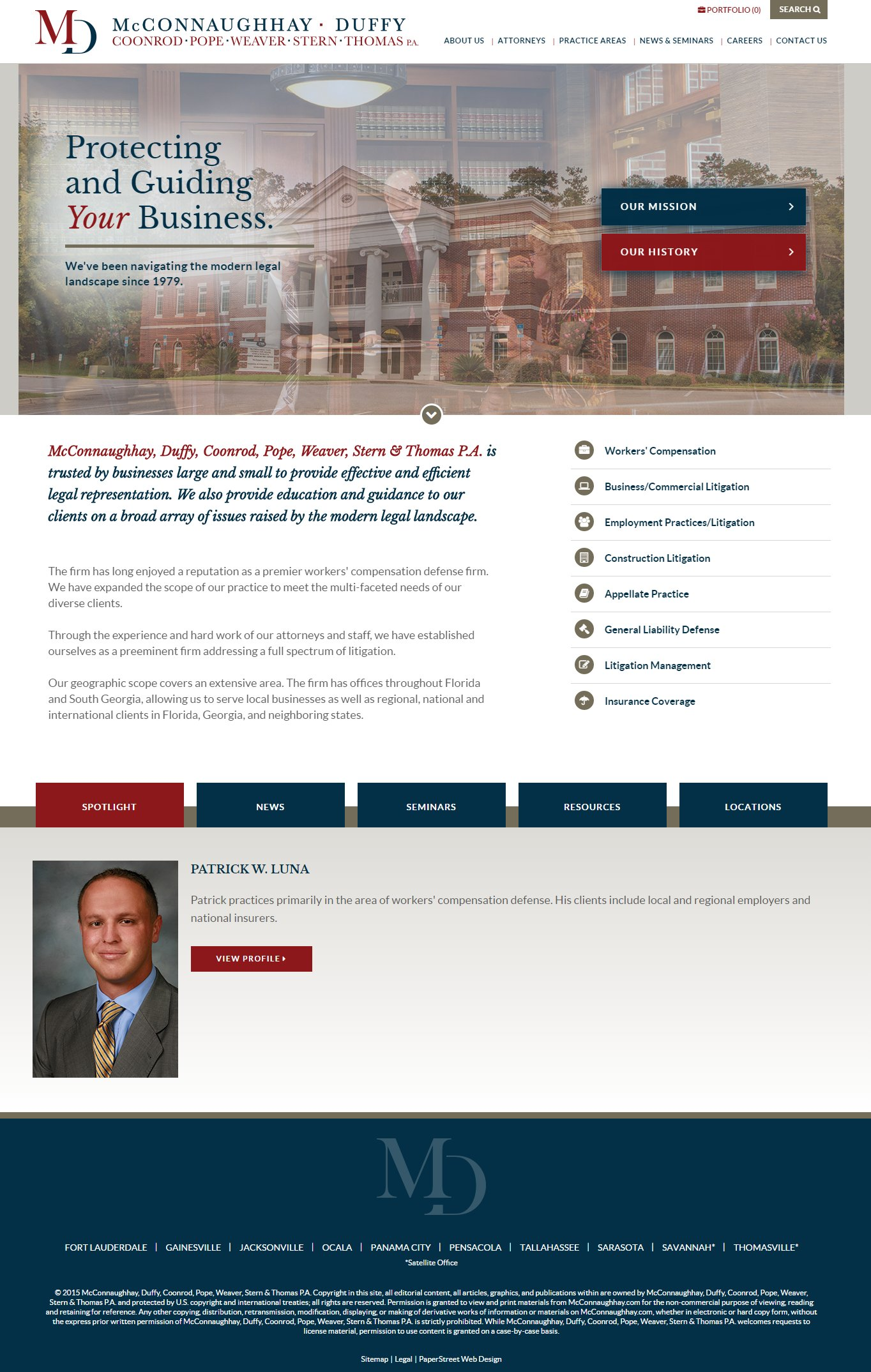 Mcconnaughhay Duffy Coonrod Pope Weaver Stern Thomas P A Launches New Custom Web Design Paperstreet