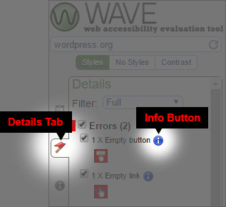 WAVE tool Details location