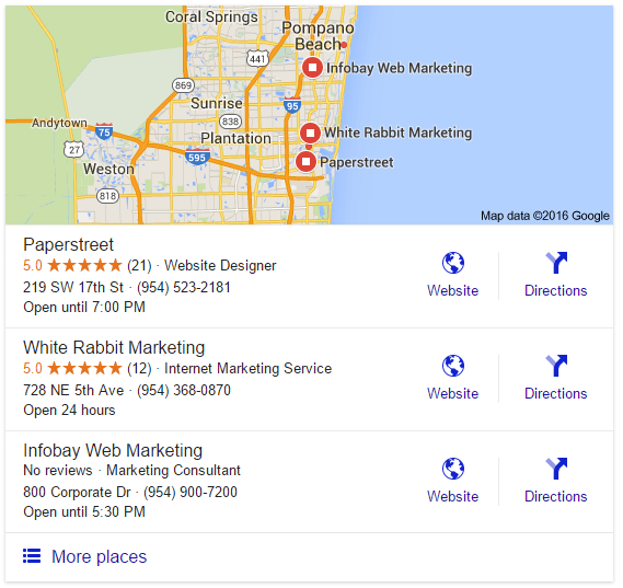 Example of Google's map pack with star ratings showing