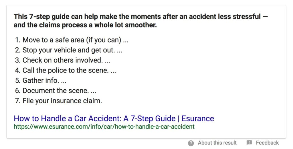 paragraph about an accident
