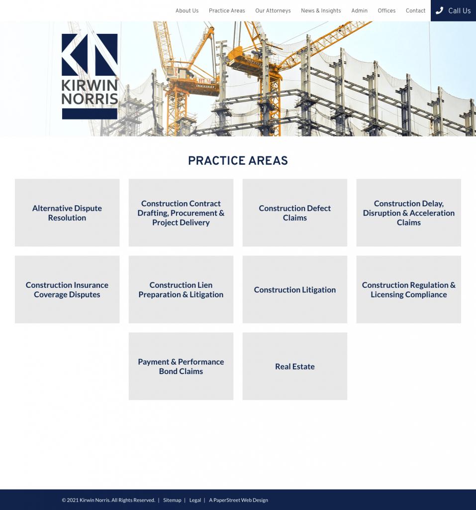 kirwinnorris-practice-areas screenshot