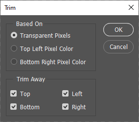 Photoshop action window trim step