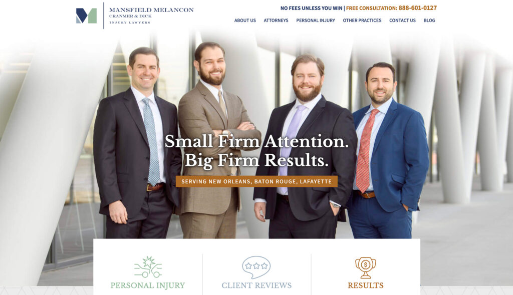 Law Firm Website with no scrolling homepage