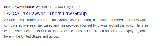 Thorn Tax Law Google result