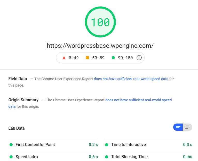 Google Page Speed Insights - wordpressbase.wpengine.com Page Speed 100