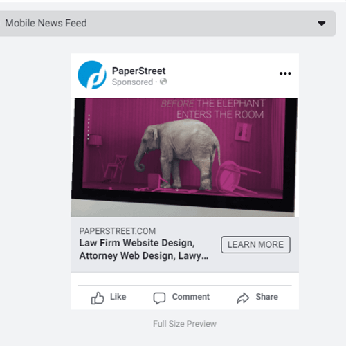 Facebook Mobile Ad for PaperStreet