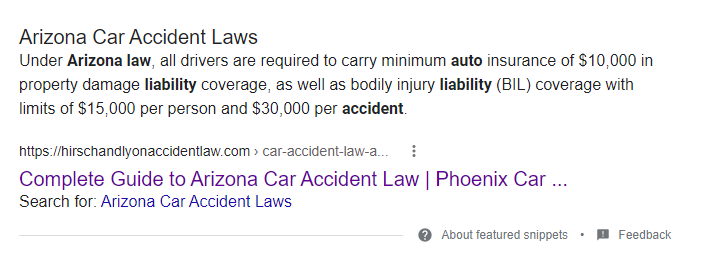 Google Result for Arizona Car Accident Guide