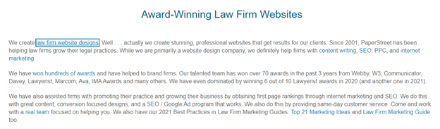 award winning law firm text