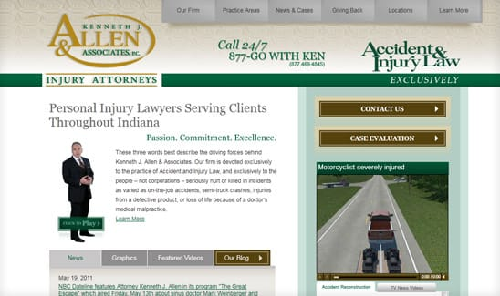 Kenneth J. Allen & Associates, LLC an Indiana Car Accident Attorney, wanted to rank highly for the base phrase of attorney and lawyer for their practice areas involving car accident, truck accident, and injury