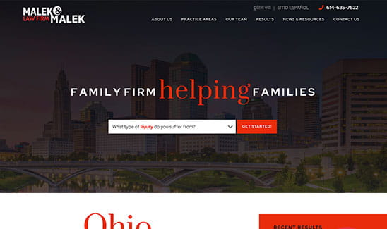 Malek & Malek Law Firm site thumbnail